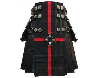 Interchangeable Black Leather Cargo Kilt Red Cross Leather Double Cross Front Panel Tartan Flash Pleats & Celtic Conchos Custom Fit Handmade
