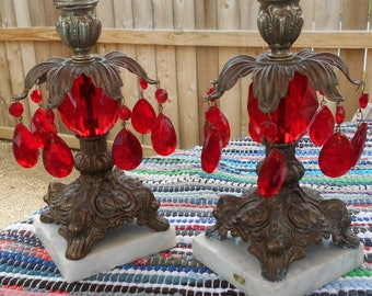 Vintage Brass and Marble Stand Candle Holders w/ Red Center & Prisms - Red Prisms - Boudoir - Fine Marble Base