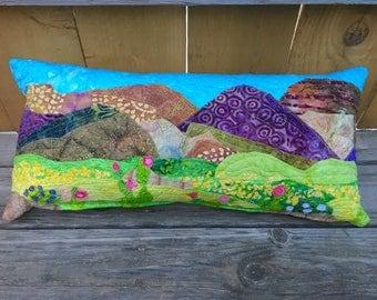 """Special order for Sarah, Desert Wildflowers Batik Pillow, 14""""x28"""""""