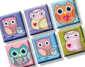 Owls scrabble tile size images 0.75x0.83 inch squares. Two 4x6'' Collage Sheets for scrabble size pendants. Digital download. Printables