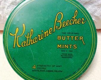 Vintage Katharine Beecher Tin Box Butter Mints Emerald Green Pennsylvania Advertising