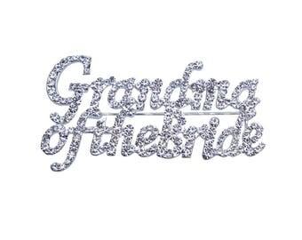 Unik Occasions Grandma of the Bride Rhinestone Pin in Silver