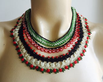 Beaded Oya Necklace-Crochet with ivory,red,green,black colors