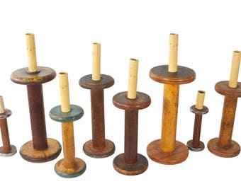 Set of 8 Wooden Spool Electric Candles - Christmas Window Candles