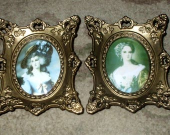 Cameo Creation Portraits Ornate Victorian Vintage Antique Gold Frames Convex Glass Prints Pair Set
