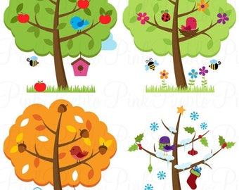 BACK TO SCHOOL Sale Four Seasons Trees Clipart Clip Art, Seasonal Trees and Birds Clipart Clip Art Vectors - Commercial and Personal Use