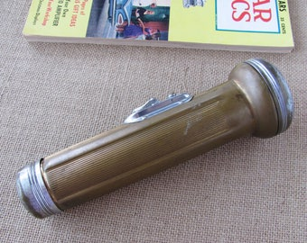 Vintage Homart Flashlight 7.5 Inches 1937 Era Brass And Chrome 2D Standard Cell With Ring Hanger