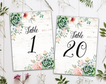 Sweet Floral Succulent Printable Wedding Table Numbers 1-20, Instant Download Print Your Own