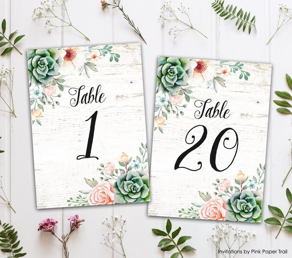 succulents printable wedding table numbers 1 20 sweet floral