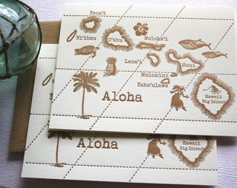 Aloha Hawaii Vintage Map Letterpress Folded Cards Set Copper Gold