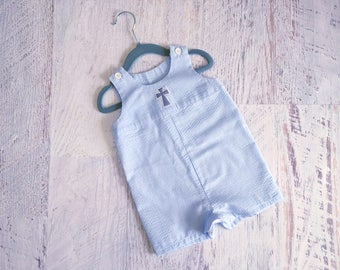 READY TO SHIP Size 6 to 9 Months Baby Boy's Light Blue and White Seersucker Baptism Jon Jon Romper with Grey Cross