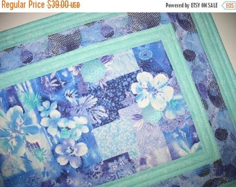 Sale Christmas in July Floral Table Runner, Wall Hanging, quilted table runner, handmade, fabric from Paintbrush Studio