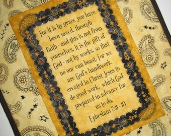 Sale Christmas in July, Christian Wall Hanging, Table Topper, Ephesians 2: 8-10, Mug Rug, handmade, quilted