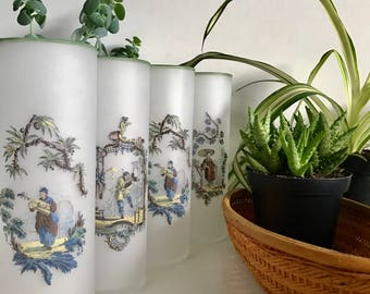 Vintage Frosted Asian Iced Tea Glasses