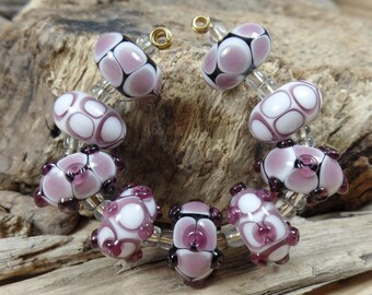 Lampwork Beads: Set of 9 beads Amethist, handmade glassbeads