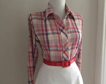 1960s 1970s Vintage Plaid Button Down Shirt Blouse + Retro Cotton Checkered Plaid Rockabilly Top + Long Sleeve Shirt + Western Pin Up