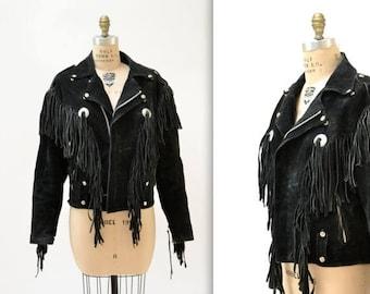 SALE Vintage Black Suede Leather Jacket with Fringe// Vintage Black Leather Moto Biker Jacket with Fringe size Large by LA Roxx