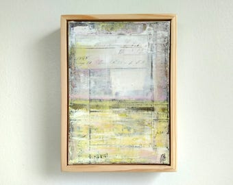 """Abstract Painting, 5x7"""" framed Abstract Art, Abstract Landscape, Rustic Painting, Mixed Media Painting, Pale Yellow Painting """"Primrose"""""""