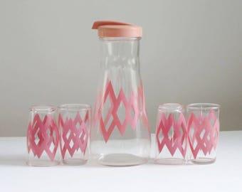 MCM Pink Hazel Atlas Juice Carafe and Glass Set, Mid Century Hazel Atlas Juice Pitcher and Glasses, 50s Pink Juice Decanter, SwirlingO11