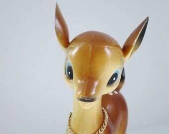 Vintage Plastic Deer, Reindeer Figurine, Plastic Deer Toy, Vintage Christmas Figurine, 7 inch Reindeer Made in Hong Kong