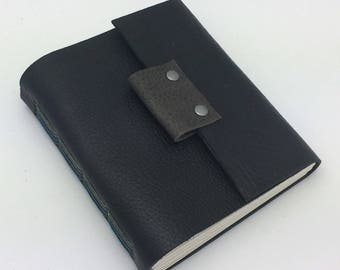 Black Leather Sketchbook, Journal, In Stock, 6 x 5 inches