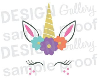 Unicorn Face - JPG, png & SVG, DXF cut file, Printable Digital, flowers, lashes - Instant Download