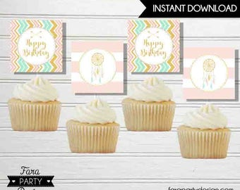 Boho Dream Catcher Birthday Party PRINTABLE Cupcake Toppers by Fara Party Design | Bohemian Tribe Girl | Dream Catcher 2 inches squares