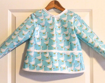 Long Sleeve Toddler Baby Bib Kids Art Smock in Light Blue with Geese