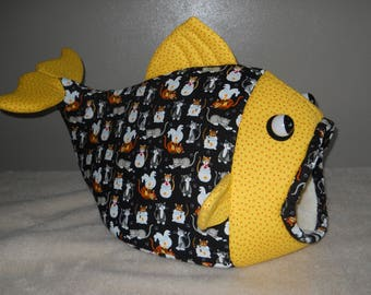 Cat Bed Fish Shaped Pet Bed Cats and Fish in Bowls Print