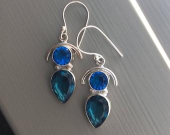 London Blue Topaz earrings sterling silver pierced Dangle India Sale!