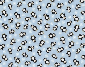 SALE 10% Off - Mini Penguins C2304 Blue - ESKIMO Kiss - Timeless Treasures Fabric - By the Yard