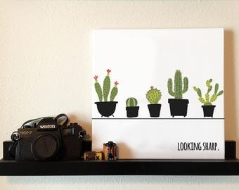 Looking Sharp Cactus Canvas Print, Funny Wall Art Print for Home, Office or Someone Special