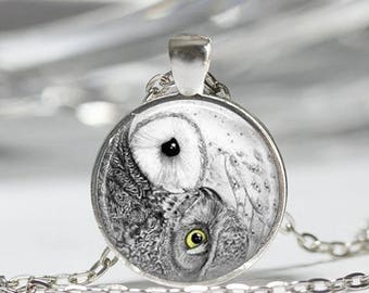 ON SALE Yin Yang Owl Necklace Bird Jewelry Zen Nature Art Pendant in Bronze or Silver with Link Chain Included