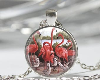 ON SALE Pink Flamingo Necklace Tropical Bird Jewelry Nature Art Pendant in Bronze or Silver with Link Chain Included
