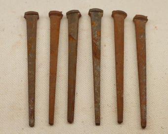 """Antique Nails - Square Head Nails - Antique Tools - 6 Nails - 3"""" Nail"""