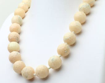 """Faceted Peach Agate Hand Knotted Necklace with Sterling Silver Lock, Short Necklace 20"""""""