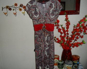Vintage Red Multicolor Dress Size Small