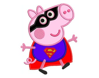 PEPPA PIG SUPERMAN Superhero * Machine Applique Embroidery * Instant Digital Download