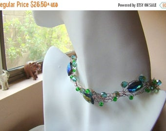 25% OFF SALE Emerald Green Glass Crochet Wire Necklace  Green and Copper Beaded Necklace  Crochet Wire Jewelry Boho Necklace - CR0053
