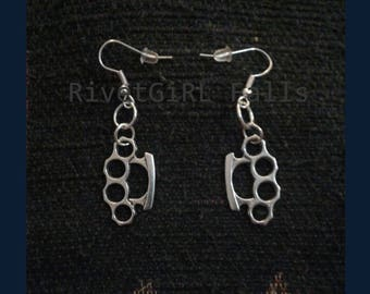 Knuckle Duster Earrings Silver Color