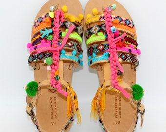 Boho Sandals,Leather Gladiator Sandals,Womens gladiator,Sandals, sandales femme,pompom sandals,   woman sandals, greek sandals