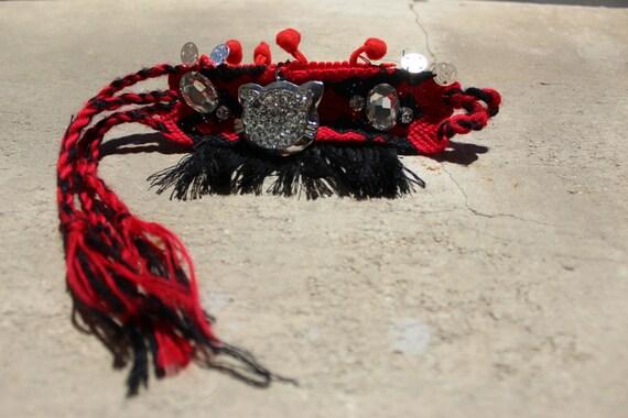 SALE Boho bracelet red gypsy bracelet gypsy cuff bracelet POMPONS