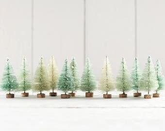 Minty Bottle Brush Trees - One Dozen Bleached 3 Inch Miniature Sisal Trees