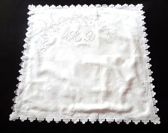 Single Vintage French Pillow Case Euro Sham in Linen with Exceptional Hand Embroidery