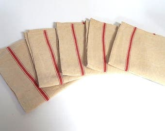 5 Vintage French Kitchen Towels or Torchons with Red Stripes on Linen ...