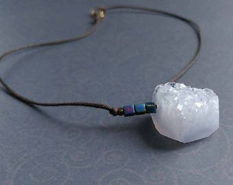 Druzy Blue Lace Agate Free Form, Faceted Piece on Brown Waxed Cotton Cord Necklace
