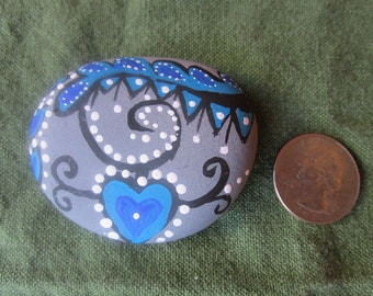 Blue Heart painted ocean stone