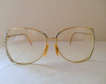 Vintage retro large gold frame Eye glasses