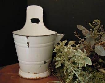 Vintage Antique French Large Enamel White Milk Bucket / French enamelware / French Cottage Decor / Goat Milk Pail / Cream Bucket