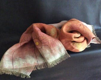 Linen scarves for women. Romantic linen scarf.Linen scarves.  Colorful  scarf. OOAK shawl.  Shawl linen hand painted. Hand-painted scarf.